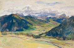 Open Valley, Dolomites, John Singer Sargent (American, Florence London), Watercolor and gouache on white wove paper Art Watercolor, Watercolor Landscape, Landscape Paintings, Abstract Landscape, Rodin, John Singer Sargent Watercolors, Sargent Art, Guache, American Artists