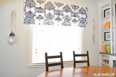 DIY Stenciled No Sew Faux Roman Shade DIY Roman Shades DIY Curtains DIY Home