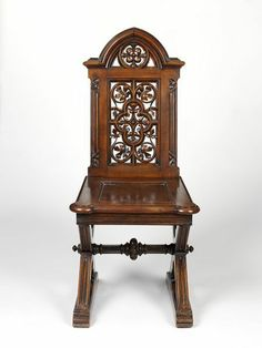 """1867 German (Berlin) Hall chair at the Victoria and Albert Museum, London - From the curators' comments: """"This hall chair is in the Renaissance Revival style and is an example of the collaboration between firms in different countries, which became more common in the 19th century. L.& S. Lövinson, a German firm specialising in carved furniture, and Julius Yacoby or Jacoby, who had a furniture business in London, exhibited furniture together at the International Exhibition held in Paris in…"""