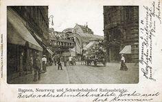 """Historische Ansichtskarte / vintage picture postcard. """"Barmen. Neuerweg und Schwebebahnhof Rathausbrücke"""". (""""Barmen. Neuerweg and suspension monorail station Rathausbrücke"""")"""