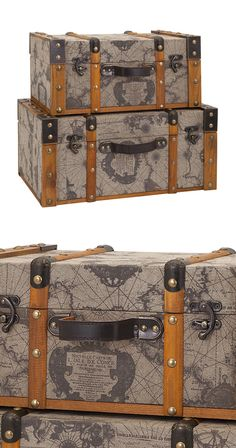 No matter where your dreams take you—from Patagonia to Baffin Bay—the Galapagos Trunks are a fun and functional way to stay inspired. Each trunk features ample storage on the interior, but the real tre...  Find the Galapagos Trunks - Set of 2, as seen in the  #LongitudesOfStyle  Collection at http://dotandbo.com/collections/longitudesofstyle?utm_source=pinterest&utm_medium=organic&db_sku=114973