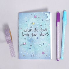 Cute Notebook - Look for Stars Illustration - Stars Moon Galaxy - Blank A6