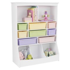 KidKraft Wall Storage Unit - White.  One idea for storing toys and books in the bedroom as an alternative to existing dresser and small bookcases.  This piece about $190.
