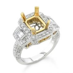 BF1731-06 - #26251  18 k, Two Tone diamond ring 0.94 ct. rounds 0.17 ct. baguettes (Please call for pricing)