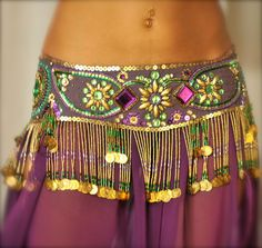 Beautiful Belly Dance belt beaded sequined in purple green and gold.