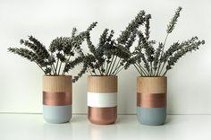 Set of 3 Painted Wooden Vases Home Decor van ShadeonShape op Etsy