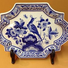Royal Delft Applique Plate Blue and White Peacock   eBay