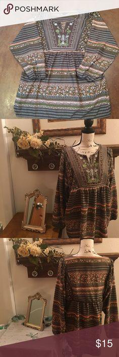 """Boho Westbound Top Soft and flowing. Wrinkle free fabric. Embroidered bodice with a v neck. 23"""" from armpit to armpit. Length is 27"""" and the sleeves are 17.  Nonsmoking home Westbound Tops Blouses"""