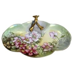 Limoges Hand Painted Rose Master Berry or Fruit Bowl, Artist signed,Ca