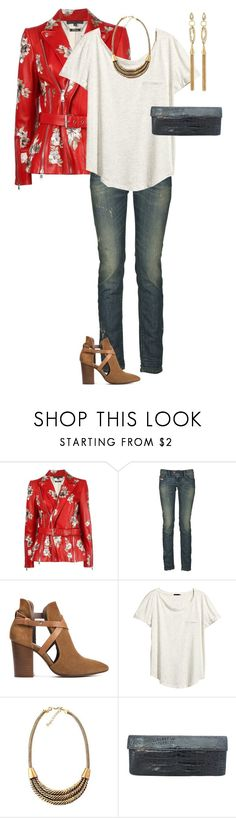 """""""Floral Leather Jacket"""" by kimberlyn303 ❤ liked on Polyvore featuring Alexander McQueen, Diesel, H London, H&M, Nancy Gonzalez, Alexis Bittar, leatherjacket, jeans and springfashion"""