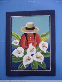 TARJETAS  TIPO CUADRO  LINDAS FLORISTAS  DEL PERU Mexican Paintings, Paintings I Love, Folk Art Flowers, Flower Art, Easy Canvas Painting, Canvas Art, Hispanic Art, Peruvian Art, Indian Drawing