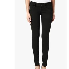 "Hudson Sz 25 Collin Skinny Black Stretch Pants Hudson Sz 25 Collin Skinny Black Stretch Pants NEW WITHOUT TAGS!  Reform stretch denimLength 36"" Inseam 29"" Leg Opening 5 1/2"" Button flap back pockets Cotton/Polyester/Lycra Blend Regular Rise Hudson Jeans Jeans Skinny"