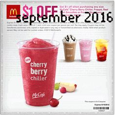 McDonalds coupons & McDonalds promo code inside The Coupons App. Shave a buck off any smoothie at McDonalds May Free Mcdonalds Coupons, Local Coupons, Grocery Coupons, Online Coupons, Restaurant Deals, Restaurant Coupons, Free Printable Coupons, Free Coupons, Dollar General Couponing