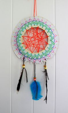 Recycled materials into Dream catcher - example for kids