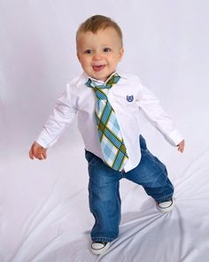 Little Guy Necktie Tie - Plaid - Teal Turquoise Navy White Lime Green - (12m - 2T) - Baby Boy Toddler