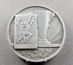 French-Medal-Sport-Basketball-Basket-Ball-Men-Contest-Art-Deco-By-Augis