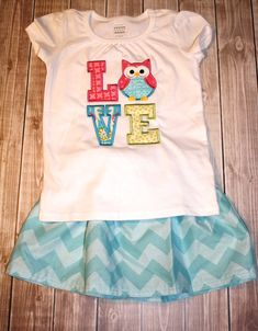 Toddler GIrls Outfit with Owl Love Tee and by LittleBunnySueSue, $41.00