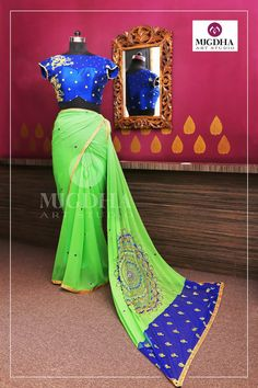 Georgette sari and raw silk blouse in blue and  pastel green Zardosi work from Mugdhas. They can customize the color and size as per your requirement Product code - SC 253To Order  : whatsapp +91 8142029190/ 9010906544 For Call: 8899840840 (IVR)  20 July 2017