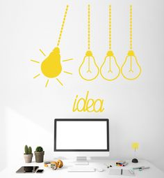 Details about Vinyl Wall Decal Light Bulbs Idea Funny Office Decor Stickers Office Wall Graphics, Office Wall Decals, Office Walls, Vinyl Wall Decals, Wall Stickers, Office Artwork, Office Humor, Funny Office, Office Wall Design
