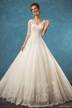 AMELIA SPOSA 2017 bridal half sleeves scallop lace v neck heavily embellished bodice romantic a  line wedding dress illusion lace back royal train (patrizia) mv  #bridal #wedding #weddingdress #weddinggown #bridalgown #dreamgown #dreamdress #engaged #inspiration #bridalinspiration #weddinginspiration #weddingdresses #ameliasposa #romantic #lace #ballgown
