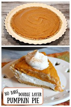 This contains an image of: {{ pinTitle }} Fun Easy Recipes, Popular Recipes, Pumpkin Pie Recipes, Pumpkin Puree, Double Layer Pumpkin Pie, Whipped Cream Cheese, Instant Pudding, Graham Cracker Crust, Dessert Recipes