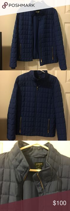 J. Crew blue coat! J. Crew bright blue coat with gold zipper pockets and front zip. Size large, well fitted. Puffy but would not wear in extreme cold. Ideal for commuting in cold! Only worn a few times. J. Crew Jackets & Coats Puffers