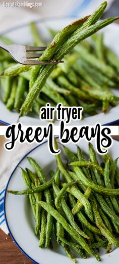These simple and delicious green beans are perfect for a spring or Easter side dish! Make tasty air fryer green beans in about 10 minutes! Quick and easy these garlicky beans make a delicious healthy side dish for dinner. Delicious Green Beans, Healthy Green Beans, Cooking Green Beans, Healthy Side Dishes, Side Dishes Easy, Vegetable Side Dishes, Air Fryer Dinner Recipes, Air Fryer Recipes Easy, Recipes Dinner