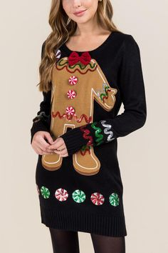 f05f64a86d Gingerbread Tacky Sweater Dress