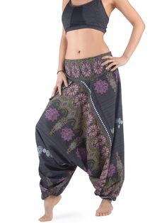 Floral Embroded Cotton Harem Pants - Forgotten Tribes