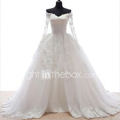 A-line Wedding Dress See-Through Court Train Off-the-shoulder Lace Tulle with Appliques 2017 - $149.99