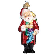 Santa and Pixies Glass Ornament