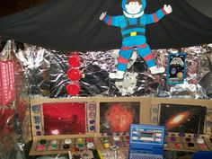 Space Study We added a spaceship and a telescope to our Dramatic Play area. Dramatic Play Themes, Dramatic Play Area, Dramatic Play Centers, Kindergarten Science, Preschool Activities, Space Theme Preschool, Role Play Areas, Outer Space Theme, Space Projects