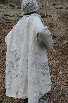 Women coat wearable art nuno felted coat designer coat
