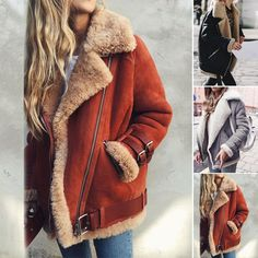 Women lambswool Coat Aviator Leather Buckle Jacket Air Pilot Winter Thick Jacket #Unbranded #Motorcycle #Casual