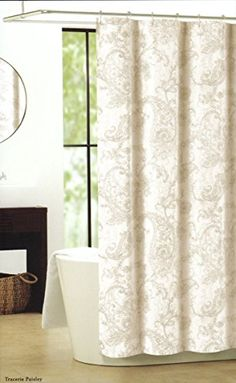 Nicole Miller Luxury Cotton Blend Shower Curtain Beige, Gray, Taupe  Tracerie Paisley Nicole Miller