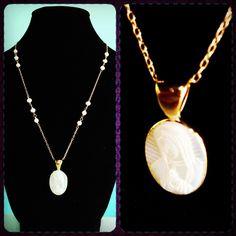 Collar de perla de rio con virgen de Guadalupe en Madre Perla