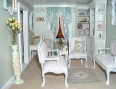 By Af Linda Wooten. All the Shabby Chic furniture, rugs, pillows, curtains, etc. are hand made by Linda Wooten.