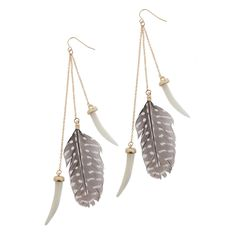 gray feather earings
