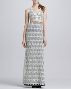 Katie+Scalloped+Lace+Maxi+Dress+by+korovilas+at+Neiman+Marcus.