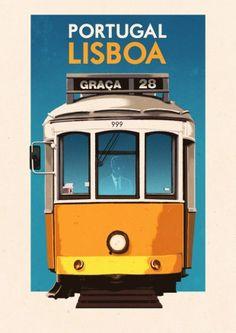 Vintage Travel Poster - Lisboa - Portugal - Lisbon  BY Rui Ricardo  Clássico Elétrico (Amarelo) da Carris