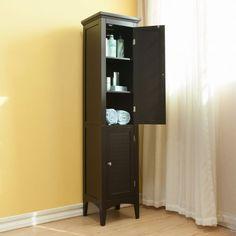 Tall-Linen-Tower-Cabinet-Organizer-Storage-Shelves-Doors-Bathroom-Salon-Wood