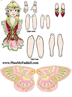 Fairy Paper Doll - Page 3 Paper Puppets, Paper Toys, Paper Art, Paper Crafts, Marionette, Butterfly Fairy, Up Book, Dress Up Dolls, Vintage Paper Dolls