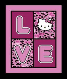 Hello Kitty Pink Cheetah Love Quilt or Wall by Loriscountryfabrics, $8.00