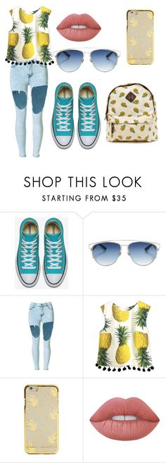 """""""pineapple outfit 🍍"""" by iulia-ab ❤ liked on Polyvore featuring Christian Dior and Lime Crime"""