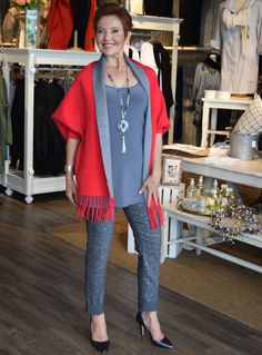 July 2016- Canadian designed reversible fringed ponchos add an instant style impact to an early fall wardrobe.- A style steal at $88.