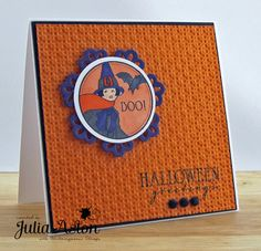 I made this Halloween card with stamps from Waltzingmouse