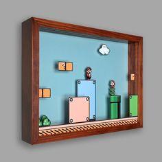 Super Mario Bros 3 Shadowbox Art Its a me! Each shadowbox art piece measures 12 x 15 x 3 and comes ready to hang. Video Game Decor, Video Game Rooms, Super Mario Room, Boy Room, Kids Room, Bric À Brac, Gamer Bedroom, Shadow Box Art, Geek Decor