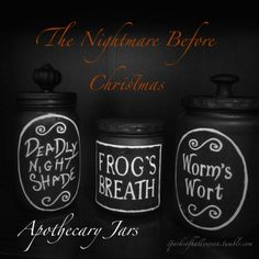 How to make Sally's potion bottles. The Nightmare Before Christmas. Worms Wort, Frogs Breath, Deadly Night Shade