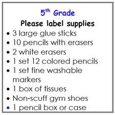5th Grade Supply List Afnorth Elementary School Us Section 2017 2016 Year