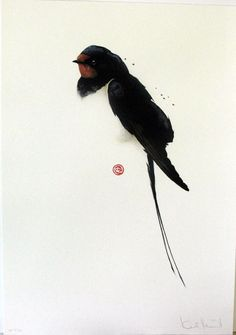 Karl Martens (Mårtens) (American, b. Watercolor Bird, Watercolor Animals, Watercolour Painting, Painting & Drawing, Chinese Art, Chinese Brush, Art For Art Sake, Art Graphique, Wildlife Art